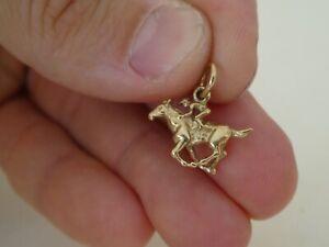 Vintage 9CT Gold Horse Racing Charm Pendant