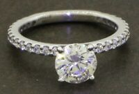 EGL USA Gabriel & Co. 14K WG 1.73CTW diamond wedding ring w/ 1.31CT F-color ctr.