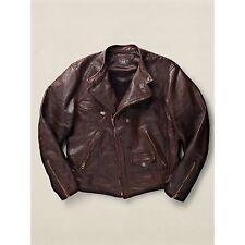 NWT Ralph Laurel RRL Calfskin Moto Jacket Brown Leather Size Large, MSRP US$1800