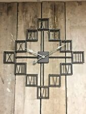 70cm Industrial Style Large Rustic Roman Numeral Wall Clock Skeleton