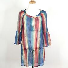 VIX SWIMWEAR - 100% Silk Multi Color Print Drawstring Tunic Coverup Dress. Small