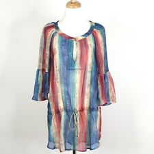 54282daf0cbe7 VIX SWIMWEAR - 100% Silk Multi Color Print Drawstring Tunic Coverup Dress.  Small