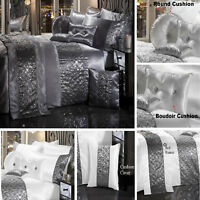 LUXURY DIAMANTE DUVET QUILT COVER BEDDING LINEN SET SPARKLE SILVER GREY CREAM