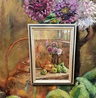 Frühlingsblumen. Stillleben mit Birnen. Original altes Ölgemälde,  Galerierahmen