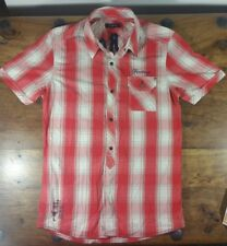 FIRETRAP RED AND WHITE CHECK SHORT SLEEVE SHIRT SKULL DESIGN SIZE SMALL