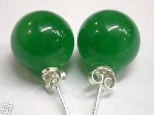 10mm grüner Jade Ohrstecker