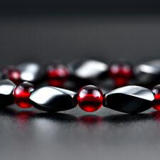 Magnetic Hematite & Acrylic Beaded Healing Stretch Bracelet Arthritis Headache Red