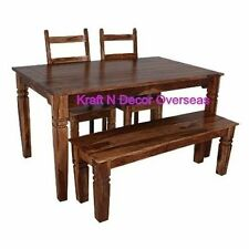 KraftNDecor Wooden Dining Set with 2 Chairs & 1 Bench in Brown Colour