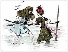 The Girls Passing River. Reproduction Postcard. Unused.