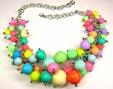 Statement Kette Collier Perlenkette XXL Mehrfarbig Acrylglass Länge 46 cm Damen