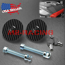 UNIVERSAL RACING Mount Bonnet Black Carbon Fiber Hood Pins Latch Key Locking Kit