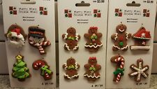 12 MERRY MINI GINGERBREAD CHRISTMAS ORNAMENT OR GIFT TAG DECORATIONS