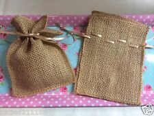 wedding set of 9 natural brown burlap hessian favour candy sweet bags