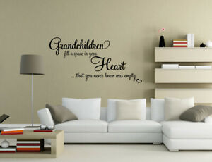 Grandchildren fill a space in Heart Wall Stickers Wall Art Quote Decals UK PQ253