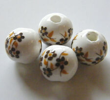 30pcs 10mm Round Porcelain/Ceramic Beads - White / Brown Oriental Flowers