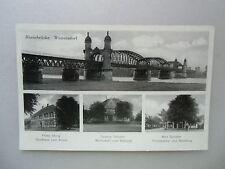 Ansichtskarte Rheinbrücke Wintersdorf 50er?? Gasthaus zum Kreuz Bahnhof Post