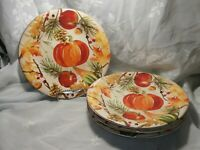 "SET OF 4 FALL FESTIVITIES SALAD / PASTA PLATES 9"" BY 222 FIFTH FINE CHINA"