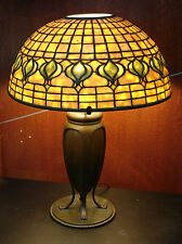 c.1900s TIFFANY STUDIOS POMEGRANATE SHADE BRONZE LAMP Stamped Collectabe