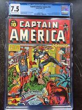 CAPTAIN AMERICA COMICS #10 CGC VF- 7.5; CM-OW; bondage cover; last S&K issue!