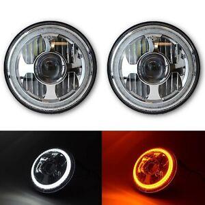 "7"" LED White Amber Halo Ring Angel Eyes Projector  Headlight Headlamp Pair"