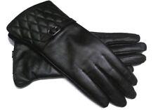 NEU Damen Smart Touch Leder Handschuhe Schwarz Touchscreen Warm gefüttert Winter