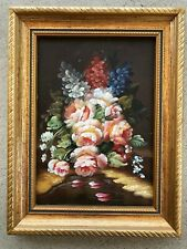 Antique Vintage 5x7 7x5 Roses Flowers Fish Floral Oil Painting Wood Gold Frame