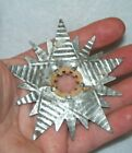 Rare Antique Heavy Metal Tin Snowflake Christmas Tree Light Reflector Beautiful!