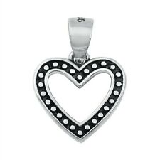 Heart Pendant Solid Sterling Silver 925 Oxidized Jewelry Product Height 11 mm