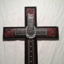 Home Decor Religious Double Leather Look Cross with a Horse Shoe - New In Box