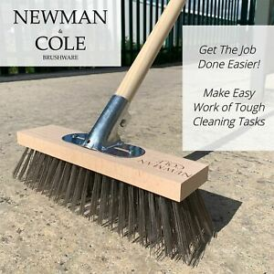 Newman and Cole Wire Broom Brush Head & Handle Deck Scrub Garden Cleaner