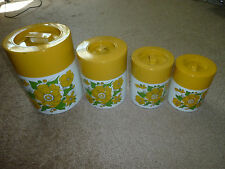 Set of 4 Vintage Mid Century Nesting Cans, Metal Canisters, Retro Kitchenware