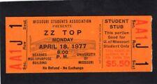 Original 1977 Zz Top Unused Concert Ticket U of Missouri World Wide Texas Tour