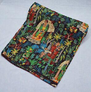 Twin Size New Indien Cotton Applique Kantha Quilt Bedspread Throw Trendy Blanket