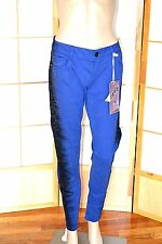 NWT Cobalt Blue & Black Sequin Beads Bling Truce Low Rise Skinny Jeans 12 13