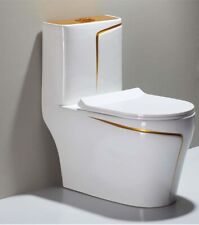 WHITE WC TOILET DESIGN MODEL  WITH GOLD LINE