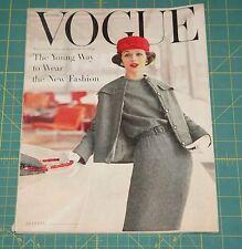 August Vogue 1956 Rare Vintage Vanity Fair Fashion Design Collection Magazine