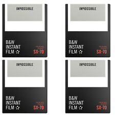 4 Packs Impossible Black & White Film for Polaroid Sx-70 Cameras (white frame)