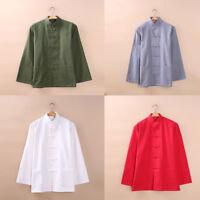 Mens Cotton Linen Kung Fu shirts Tang Suits Martial Art Tai Chi Uniform Costume