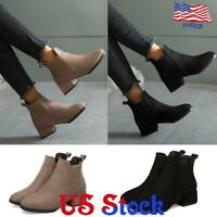 Women's Chelsea Ankle Boots Ladies Casual Low Block Heel Slip On Shoes Size USA