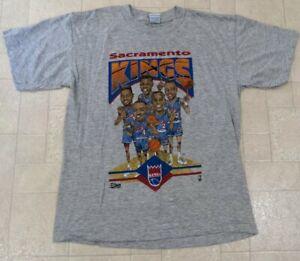 Vintage 1992 Sacramento Kings T Shirt Salem Caricature 90s Nba Size L Gray Tee
