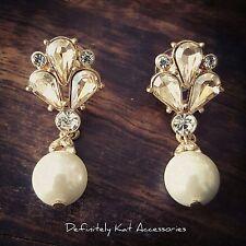 Stunning vintage champagne crystal leaf & pearl statement bridal stud earrings
