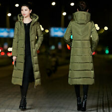 Hooded Down Jacket Ladies Winter Coat Knee-length Cotton Padded Parka Quilted Sz