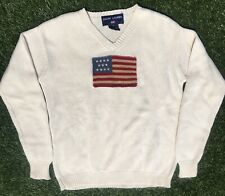 Vintage Polo Sport Ralph Lauren USA Flag Knit Sweater 90s Men's S White