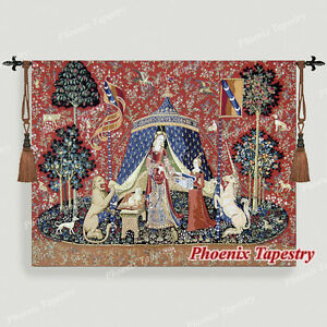 The Lady & Unicorn Medieval Tapestry Wall Hanging Jacquard Weave DESIRE (Small)