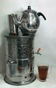 Holzkohle Samowar mit Teekanne komplett Set, Single Wasserhahn