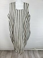 NWT $155 Noblu Alexandra Ilyin Black & White Striped Dress Sleeveles Size L/XL
