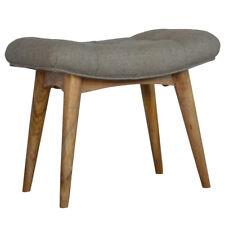 Scandinavian Nordic Style Bench / Stool Upholstered in Grey Woollen Tweed Bench