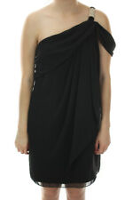 Xscape New Black One-Shoulder Chiffon Draped Dress 10