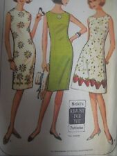 Vtg 1960s McCall's SLEEVELESS SLIM or A-LINE FLARED DRESS Sewing Pattern Women