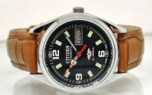 citizen automatic men's steel day/date vintage made japan wrist watch run order